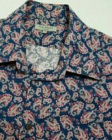 TED BAKER MENS DRESS SHIRT L 16 BLUE PINK RED PAISLEY PATTERN LONG SLEEVE 129