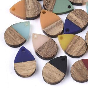 50pcs Resin & Walnut Wood Waxed Pendants Teardrop Charms DIY Craft 16.5x11.5mm