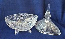 Unusual Oblong Lead Crystal Candy Dish w Lid Pinwheel and Star Pattern 4 Legged