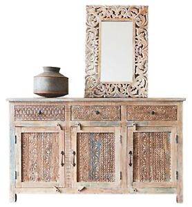 Teak Wood Traditional Handcrafted Large Sideboard