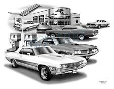 "FORD TORINO 70,71 MUSCLE CAR ART AUTO PRINT #2500 ""FREE USA SHIPPING"""