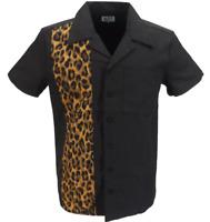 Retro Black With Leopard Stripe Rockabilly Bowling Shirts