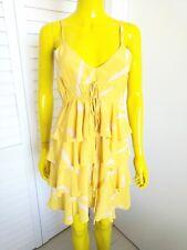 KAREN ZAMBOS 100% Silk Yellow Feather Ruffled Dress Size S NWOT Orig Retail $226