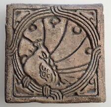 Early BATCHELDER PASADENA Arts & Crafts Tile PEACOCK Large Backstamp 5.75 Inches