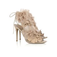 Valentino Garavani beige floral organza iconic wedding heels Sz 37 US 6.5