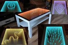 Weiss Tisch LED 3D 90x55 Couchtisch Glastisch Tiefeffekt Spiegel + 100 Diamanten