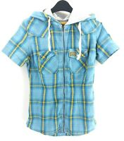 SUPERDRY Womens Shirt Short Sleeve XS Blue Yellow Check Cotton Hooded