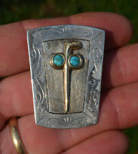 Sterling Silver Turquoise Bolo Tie Vintage Native American 14K Gold &