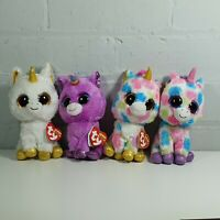 "4 x unicorn soft toy 6"" ty beanie boo bundle zoey pegasus rosette"