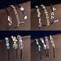 Rhinestone Crystal Pearl Headband Bridal Wedding Metal Flower Hair Accessories