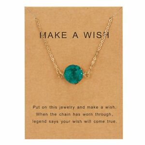 Fashion Women Moon Round Water Drop Pendant Necklace Clavicle Chain Jewelry Card