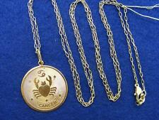 "$28 Nordstrom CANCER Horoscope Sign Zodiac Pendant Necklace Goldtone 36"" Long"