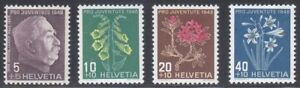 Switzerland 1948 MNH Mi 514-517 Sc B179-B182 Flowers.Ulrich Ulle,general. WWI **