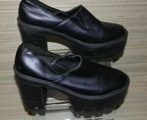TRUFFLE WOMENS BLACK SLIP ON SYNTHETIC CHUNKY HEELED SHOES SZ:5/38(WHS412)