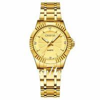 Luxury Womens Gold Tone Stainless Steel  Date Calendar Analog Quartz Wrist Watch
