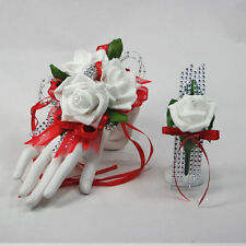 Glamour Red  with White Foam Rose Prom Corsage & Boutonniere Combo