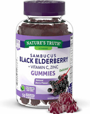 BLACK ELDERBERRY 400 mg Vitamin C Zinc Support Healthy Immune System 50 Gummies