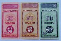 MONGOLIA 3 billetes serie AA: 10, 20 y 50 mongo, 1993,P-49, 50 y 51. Plancha UNC