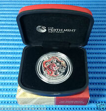 2012 Australia $1 Lunar Year of the Dragon Silver Proof Coloured Coin