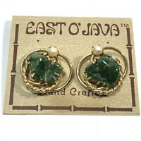 NOS VINTAGE Gold Tone GREEN STONE Pearl CLIP EARRINGS East O Java Chunky Unsigne