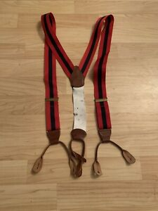 VTG stripe Brooks brothers red and navy blue suspenders leather straps braces
