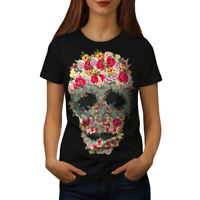 Wellcoda Skull Rose Flower Womens T-shirt, Head Casual Design Printed Tee