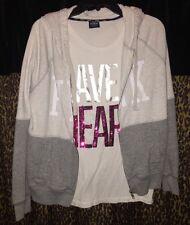 EUC Victoria's Secret Pink S Grey Hoodie & L Have A Heart TEe Tshirt Sequin Set