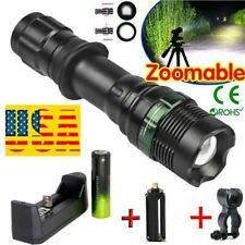 Tactical 90000LM High Power Zoomable Recharge Battery & Flashlight Torch AR