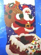"Santa Down the Chimney 15"" Christmas Stocking Kit, Applioque Felt Sequins 95109"