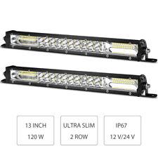 2X 13in 120W LED Work Light Bar Flood Spot Combo SUV Truck Offroad Slim Dual Row