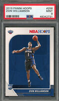 Zion Williamson New Orleans Pelicans 2019 Panini Hoops Rookie Card #258 PSA 9