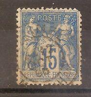 Timbre FRANCE N° 101 15c bleu SAGE type II 1892 oblitéré sur Papier quadrillé 4