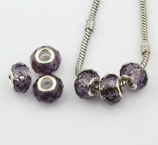 6pcs Purple Faceted Crystal Glass Large Hole Beads Fit Charms Bracelets
