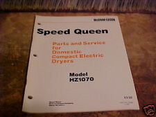 SPEED QUEEN 1978 PARTS & SERVICE MANUAL COMPACT DRYER