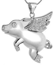 New .925 Sterling Silver Cubic Zirconia Flying Pig Pendant