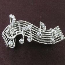Treble Clef Music Note Clear Stone Crystals Fashion Brooch Pin Silver Tone MN444