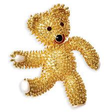 New Gold Plated Jackie Kennedy Dancing Teddy Bear Pin Brooch Camrose & Kross