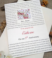 """Large Handmade Personalised Wedding Anniversary Card """"Wuthering Heights"""""""