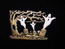 """the Grave Yard' Pin ~ Damaged """"Jj"""" Jonette Jewelry Bronze Pewter 'Ghosts in"""