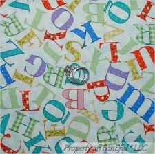 BonEful Fabric FQ Cotton Quilt VTG Nursery Baby Boy Girl Alphabet Letter School