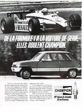PUBLICITE ADVERTISING   1984   CHAMPION  bougies FORMULE 1