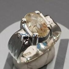 Unheated Yellow Natural Pukhraj Ceylon Big Sapphire Stone Ring 3.05 Ct Handmade
