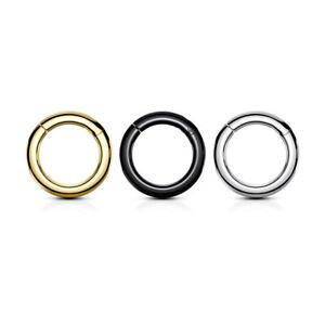 Large Gauge Hinged Clicker Segment Rings Surgical Steel 2ga-00ga Sold Each
