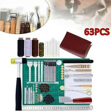 63PCS Leather Craft Working Tools Kit Hand Sewing Supplies Stitching Groover