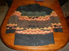 vintage leather & wool native american style jacket mens small fake bear claws