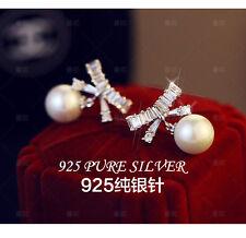 Boucles d`Oreilles Clous Plaqué Or CZ Incrusté Noeud Papillon Perle Mariage G1