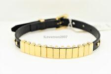 NWT Michael Kors Black Saffiano Leather Gold Belt Watch Bracelet + MK Pouch