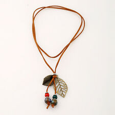 Boho Women Girl Velvet Leather Leaves Bead Pendant Long Necklace Fashion Jewelry