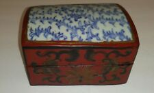 Antique Chinese Lacquered Wood Box, Inlaid Porcelain Figural Decorated Top