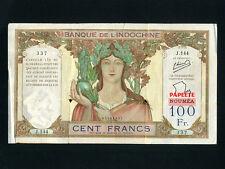 Tahiti:P-16A,100 Francs,1940 * PAPEETE * Athena * PROVISIONAL ISSUE * F-VF *
